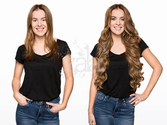 ZALA Caramel 24 Inch Clip in Hair Extensions Before & After