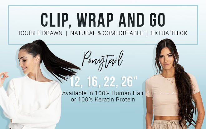 Zala Clip In Ponytail Extensions 12 16 22 26 Ponytail Hair Extensions