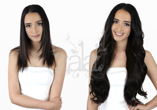 ZALA hair extensions Natural Black #1B clip in 24 inch